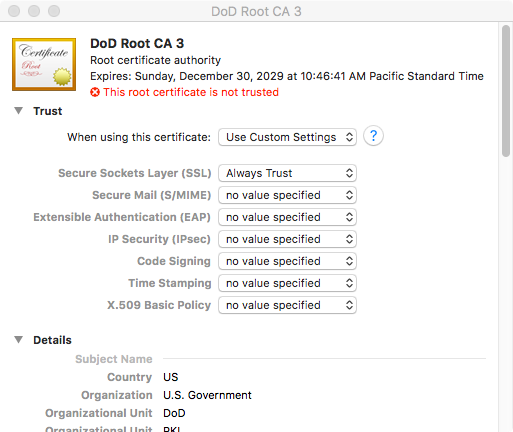 Finding (and Trusting) the DoD Root CAs in macOS | Karl\'s Notes