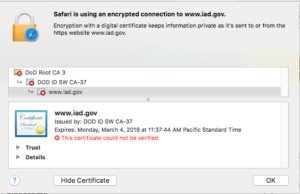Safari certificate chain window, showing an untrusted cert, chaining up to an untrusted root